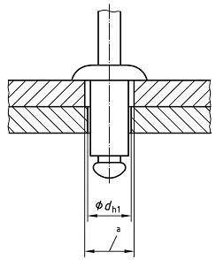 Вытяжная заклепка, диаметр отверстия в соединяемых деталях